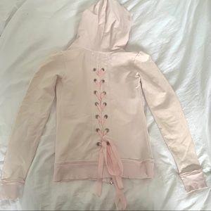 Pink Ribbon Zip Up Sweater